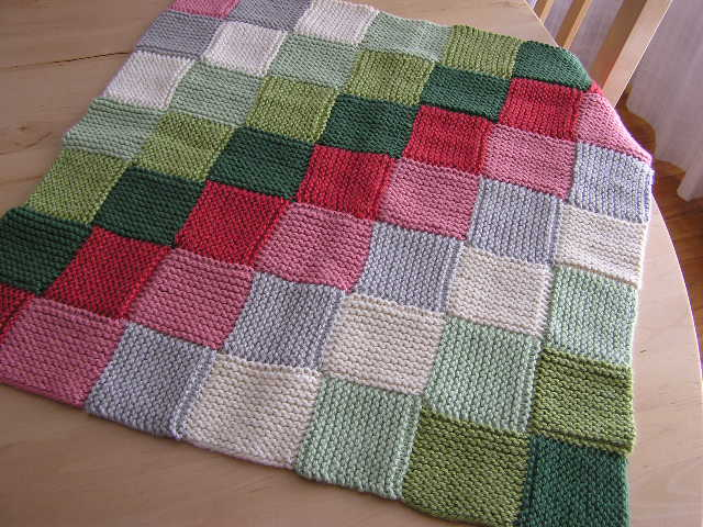 Knitted Squares Pattern : pattern for a boy blanket